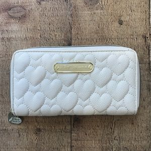 Betsey Johnson Cream Quilted Hearts Wallet Gold